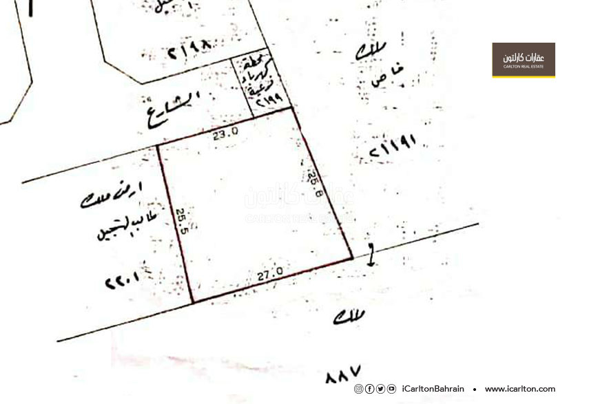 Residential land for sale, located in Maqaba area